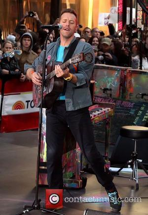 Chris Martin Coldplay performing live on the 'Today' show as part of their Toyota Concert Series at Rockefeller Plaza New...