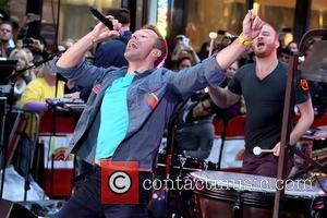 Chris Martin and Will Champion Coldplay performing live on the 'Today' show as part of their Toyota Concert Series at...