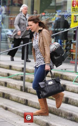 Coronation Street star Kate Ford outside Starbucks Manchester, England - 06.04.11