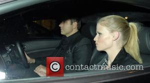 David Walliams and Lara Stone,  driving around in Mayfair London, England - 19.04.11