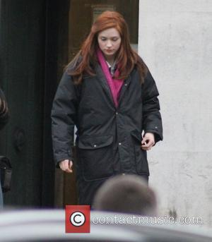 Karen Gillan  on the set of the BBC sci-fi series Doctor Who filming on location at Temple of Peace...