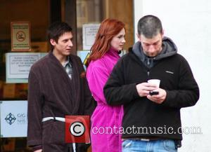 Arthur Darvill and Karen Gillan  on the set of the BBC sci-fi series Doctor Who filming on location at...