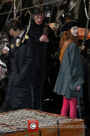 Matt Smith and Karen Gillan  on the film set of 'Dr Who' in Cornwall. Cornwall, England - 02.02.11