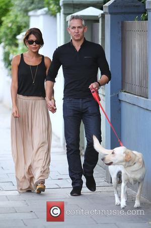 Gary Lineker and wife Danielle Lineker aka Danielle Bux with their Dog out and about in west London  London,...