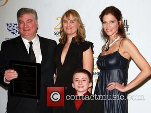 Robin Singer, Caroline Ziv, Atticus Shaffer and Tricia Helfer 25th Anniversary Genesis Awards held at The Hyatt Regency Century Plaza...