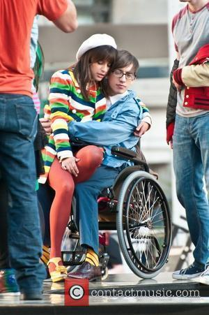 Lea Michele, Kevin McHale  filming on the set of 'Glee' on location at the Lincoln Center.  New York...