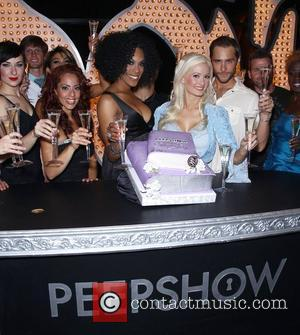 Cheaza, Holly Madison, Josh Strickland, Jerry Mitchel and the cast of Peepshow Holly Madison and the cast of Peepshow celebrate...