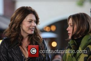 'Hot in Cleveland' stars Jane Leeves and Wendie Malick  filming an interview for entertainment television news programme 'Extra' at...
