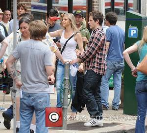 Kaitlin Olson, Glenn Howerton 'It's Always Sunny in Philadelphia' film set on Jewelers Row in Philadelphia Philadelphia, USA - 23.06.11