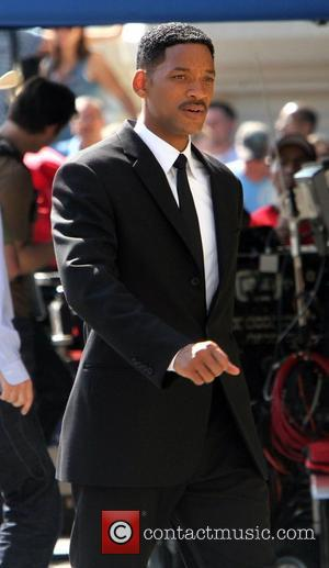 Will Smith shooting on location for MIB III (Men In Black 3) at Battery Park in New York City New...