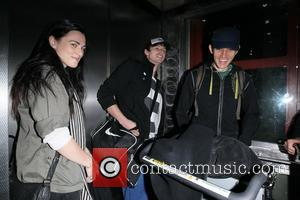 Katie McGrath, Bradley James and Colin Morgan The stars of international smash hit BBC television show Merlin arrive at LAX...