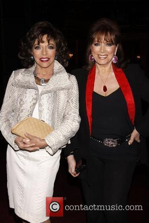 Joan Collins and Jackie Collins Real Divas meet Broadway Divas backstage at the musical 'Priscilla: Queen of the Desert' at...