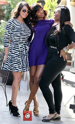 LaLa Vazquez, Kelly Rowland and Serena Williams filming a reality show segment at Cuvee on Robertson Boulevard Los Angeles, California...
