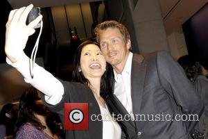 Jason Lewis posing for a photo with a fan Canadian premiere of 'Textuality' at TIFF Bell Lightbox - Arrivals Toronto,...