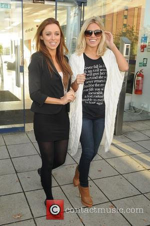 Pregnant Una Heal and Mollie King 'The Saturdays' at Key 103 radio studios as part of their UK radio station...