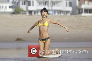 EXCLUSIVE Bai Ling  Bai Ling surfing on the beach in Marina Del Rey  Featuring: Bai Ling Where: Los...