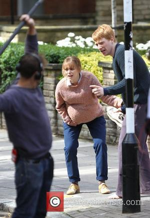 Rachel McAdams and Domhnall Gleeson  on the set of 'About Time', on location in London. Rachel McAdams plays pregnant...