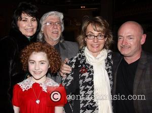 Shelly Burch, Martin Charnin, Lilla Crawford (in costume), Gabrielle Giffords and Mark E. Kelly Photo op with the cast of...