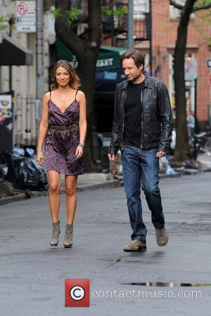 David Duchovny and Natalie Zea  seen on the set of 'Californication' in Manhattan New York City, USA - 20.04.12