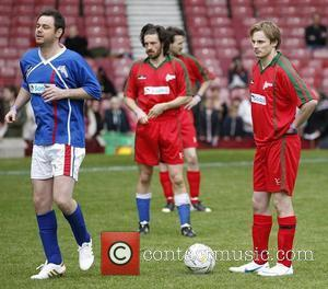 Danny Dyer and Bradley James Celebrity Soccer Six match, held at West Ham Football Club grounds in Upton Park London,...