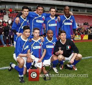 Danny Dyer, Tamer Hassan and Ziggy Lichman with their team Celebrity Soccer Six match held at West Ham Football Club...