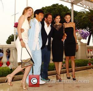 Laura Weissbecker, Jackie Chan, Brett Ratner, Yao Xingtong and Zhang Nan Xin  'Chinese Zodiac' photocall during the 65th Cannes...