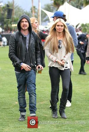 Aaron Paul and girlfriend Lauren Parsekian Celebrities at the 2012 Coachella Valley Music and Arts Festival - Week 1 Day...