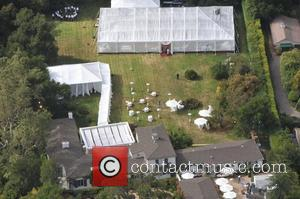 Aerial view of the wedding of Drew Barrymore and Will Kopelman  Montecito, California - 02.06.12