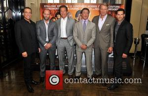 Jean-Claude Van Damme, Jason Statham, Arnold Schwarzeneggar, Sylvester Stallone, Dolph Lundgren and Stuart Adkins The Expendables 2 - photocall held...
