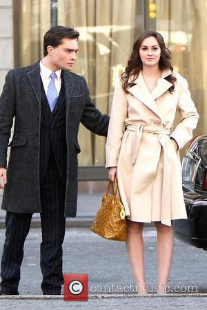 Ed Westwick, Leighton Meester 'Gossip Girl' shooting on location in Manhattan New York City,USA - 05.03.12