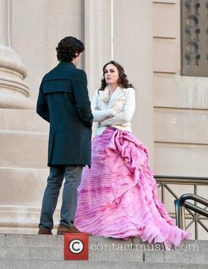 Penn Badgley on the set of 'Gossip Girl' filming on location in Manhattan. New York City, USA - 06.02.12