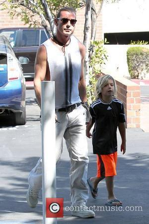 Gavin Rossdale and son Kingston Rossdale arrive at an office building in Sherman Oaks with his wife and son Los...