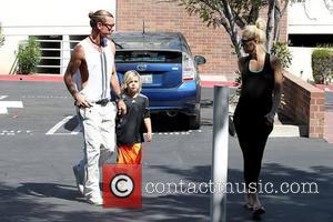 Gavin Rossdale, Kingston Rossdale and Gwen Stefani Gwen Stefani arrives at an office building in Sherman Oaks with her husband...