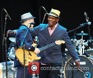 Paul Simon and Ray Phiri,  perform the album 'Graceland' live at Hard Rock Calling in Hyde Park - Day...