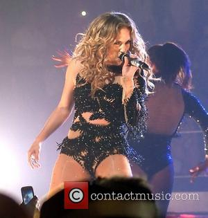 Jennifer Lopez  performing live in concert on the opening night of her tour with Enrique Iglesias at the Centre...