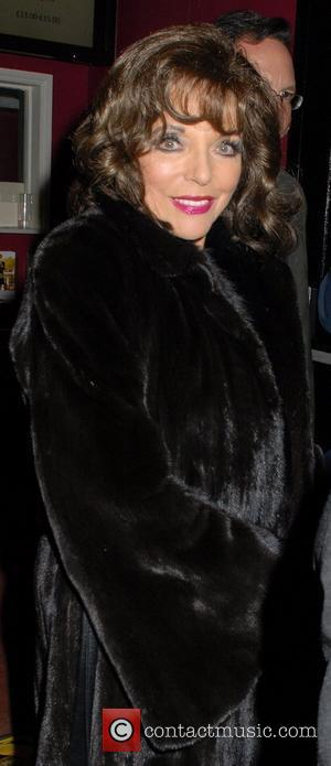 Joan Collins  wearing a fur coat at the Leicester Square Theatre for her 'One Night With Joan' show London,...