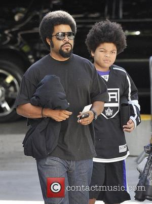 Rapper/actor Ice Cube and son O'Shea Jackson Jr.,  arrive for Game Four of the 2012 Stanley Cup Final between...