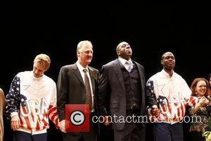 Larry Bird, Kevin Daniels and Magic Johnson