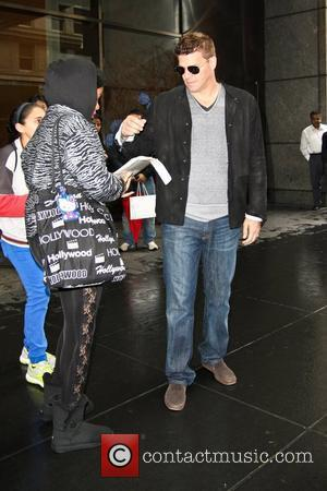 David Boreanaz signs autographs for fans as he leaves the Mandarin Oriental hotel in Midtown Manhattan. New York City, USA...