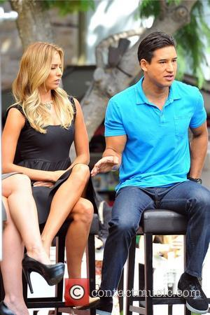 Mario Lopez and Renee Bargh  seen on the set of 'Extra' at the Grove Los Angeles, California - 26.09.12