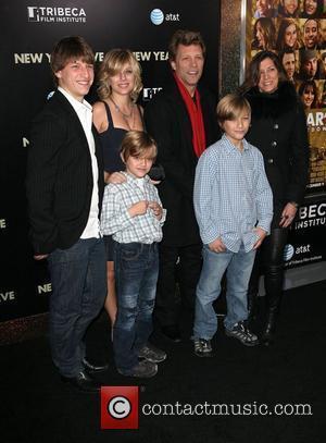 Jon Bon Jovi, and Family,  New York premiere of 'New Year's Eve' at the Ziegfeld Theatre - Arrivals New...
