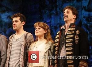 Adam Chanler-Berat, Celia Keenan-Bolger and Christian Borle Christian Borle's last performance as Black Stache in the Broadway play 'Peter and...