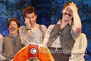Rick Holmes, Adam Chanler-Berat and Christian Borle Christian Borle's last performance as Black Stache in the Broadway play 'Peter and...