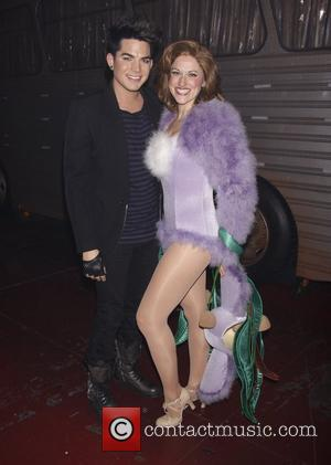 Adam Lambert and Julie Reiber Backstage at the Broadway musical 'Priscilla Queen of the Desert' at the Palace Theatre New...