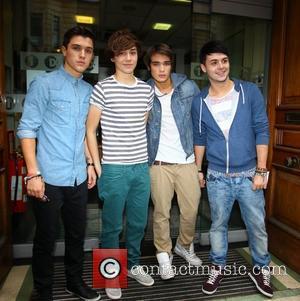 Jamie (JJ) Hamblett, George Shelley, Josh Cuthbert and Jaymi Hensley of Union J 'The X Factor' final contestants outside the...