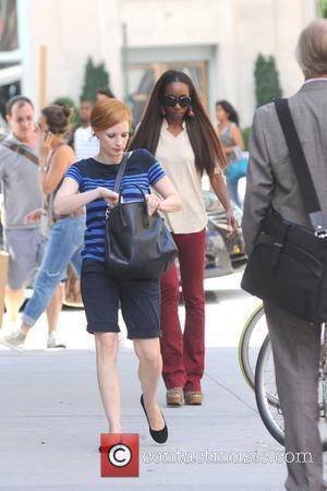 Jessica Chastain shoots scenes for 'The Disappearance of Eleanor Rigby: Hers ' in Manhattan New York City, USA - 06.08.12
