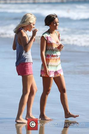Mollie King and Frankie Sandford of The Saturdays spend the day at the beach. Venice Beach, California - 10.10.12