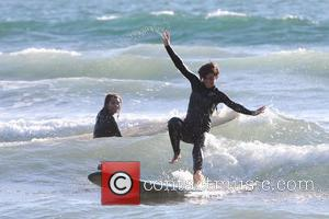 Frankie Sandford  The Saturdays enjoy a surfing lesson on Venice Beach. Los Angeles, California - 10.10.12