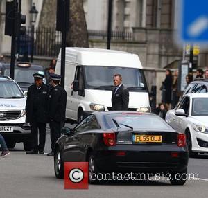 Daniel Craig  filming a scene for the new James Bond film 'Skyfall' in Whitehall London, England - 11.03.12