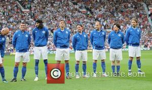 Roy Keane, Serge Kasabian, Herman Crespo, James McAvoy, Woody Harrelson, Mike Myers and Gerard Butler  Soccer Aid 2012 in...